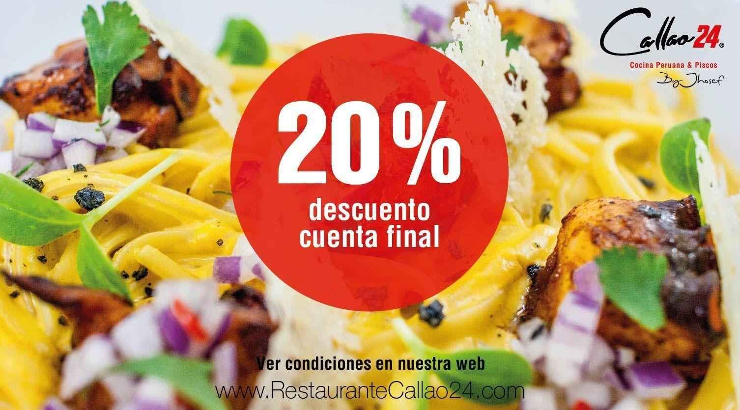 20% de descuento por vacaciones en el restaurante Callao24